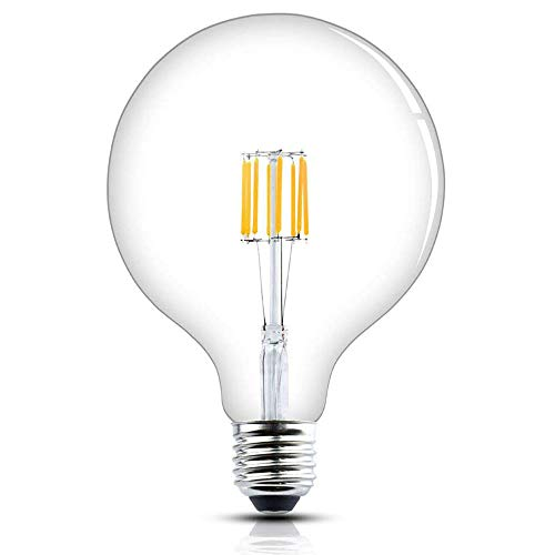 Luxvista Sin-Parpadeo 8W G125 E27 Regulable Grande Globo Vintage Edison Bombilla LED Decorativa con 800 Lúmenes, 75-80W Equivalente (Luz Fría 6000K)