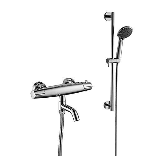 Mainen Thermostat Badewannenarmatur mit handbrause Chrom Wannenarmatur mit 38°C Sicherheitsknopf Wannenthermostat Wannenbatterie für Dusche und Badewanne