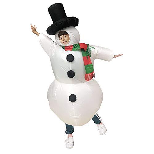 Disfraz de muñeco de Nieve Inflable Disfraz de Navidad para niños Disfraz de Fiesta Traje Ropa Regalo Creativo Ropa Disfraces Divertidos para niños 120-140 cm / 47-55 in