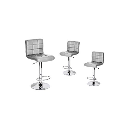 AltoBuy Milow - Lot de 3 Tabourets Argent