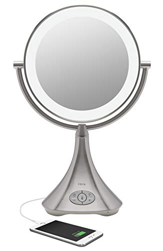 "iHome All-in-One, 7X Magnify, 9"" 2-Sided LED Bluetooth Audio, Phone Charging Makeup Mirror, Bright LED Light Up Mirror, Natural Light, Double-Sided Vanity Mirror, Hands-Free Speakerphone"