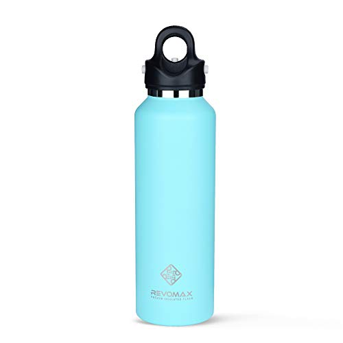 Vacuum Insulated Double-Walled Water Bottle with Twist-Free and No-Screw Insulated Flask, Portable Flask for Cold or Hot Beverages, 20oz - Revomax V2