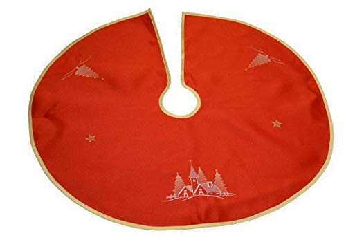 Consept Weihnachtsbaumdecke Weihnachtsbaumunterlage Tannenbaum- Unterlage Weihnachten Geschenkidee Klettverschluss Rund 90 cm Rot