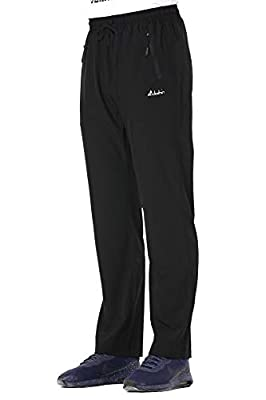 Clothin Men's Stretch Elastic-Waist Drawstring Pants With Front Zipper Pockets,Black,XL (37-40W31.5L/Regular)
