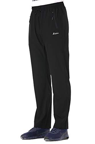 Clothin Men's Stretch Elastic-Waist Drawstring Pants With Front Zipper Pockets,Black,L (35-37W31L/Regular)