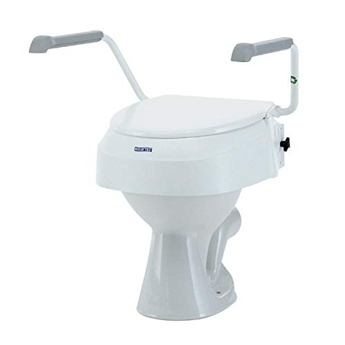 Toilet Seat Raiser with Armrests - Invacare Aquatec 900 Toilet Seat Raiser with Lid - Raised Toilet Seats for Elderly - White - Raises Seat by 100mm