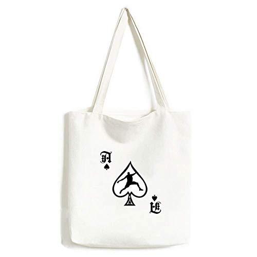 Bolsa de mão Slam Dunk Sports Basketball Jumping Craft Poker Spade Canvas Bag Sacola de compras