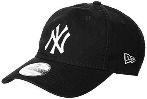 (ニューエラ)NEW ERA 9TWENTY Cloth Strap Washed Cotton ニューヨーク・ヤンキース ブラック × ホワイト キャップ One Size