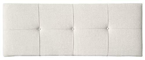 Tumueblekit Cabecero para Dormitorio tapizado en Tela Water-Repellent para Cama de Matrimonio. Color Blanco, Acolchado con Detalle de Botones, 160x60x8 cm