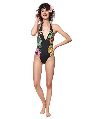 Desigual Swimwear One-Piece Sandy Woman Black Traje de baño de una Sola Pieza, Negro (Negro 2000), Talla única para Mujer