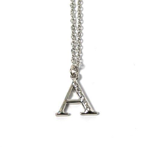 New Silberfarbene Halskette Buchstabe A mit fünf Strasssteinen