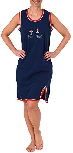 Ärmelloses Damen Spaghetti Achsel Nachthemd in maritimem Look - 191 215 90 947, Farbe:Marine, Größe2:40/42