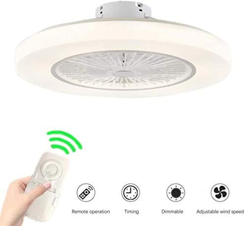 Moderne Deckenventilator mit Beleuchtung, Kreative LED-Deckenleuchte Dimmbare Deckenventilator mit Fernbedienung Beleuchtung und Stille Schlafzimmer Wohnzimmer Deckenleuchte, weiß, 58cm, Tama oder: 58