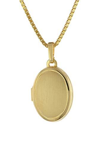 trendor Medaillon mit Damen-Kette Gold auf Silber zauberhaftes Silber-Medaillon für Damen, zeitloser Silberschmuck für Frauen, tolle Geschenkidee 75727