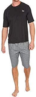 Mens Pyjamas Set Short Sleeve Top & Woven Shorts Pants