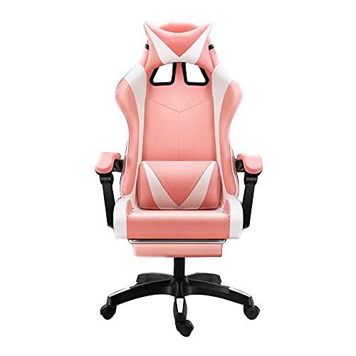Stuhl Computerstuhl Massage Computer Gaming Stuhl mit Fußstütze Ergonomische Rennstuhl Stuhlhöhe Verstellbarer Rennstuhlstuhl mit Kopfstütze und Massage Lendenwirbelstütze, Pin ( Color : Pink White )