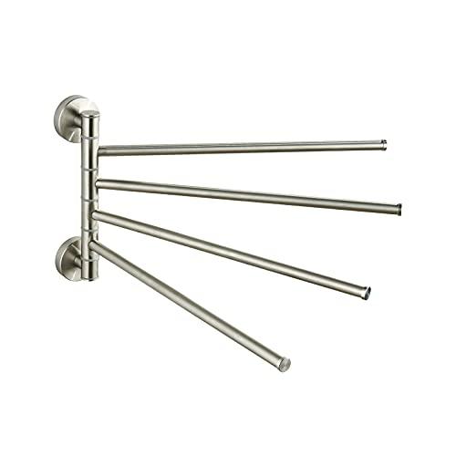 BVL - Toallero giratorio de acero inoxidable 304 con 4 barras de baño, para el cuarto de baño y la cocina, toallero adhesivo o pared cepillada