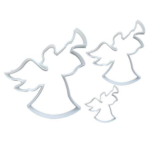 Cortador de galletas con forma de cuerno de ángel y alas (masa de galletas, pastelería, fondant, trompeta de Navidad, hada santa) – Juego de 3