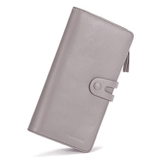 BOSTANTEN Geldbörse Herren/Damen Leder Geldbeutel Groß Portemonnaie mit Reißverschluss Lang Geldtasche Kartenfächer Vintage Grau