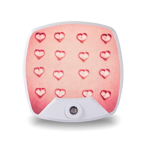Luz de noche LED enchufable con sensor automático de anochecer a amanecer,flat lay of glass hearts on pink background top view,para pasillo, dormitorio, escalera, etc.