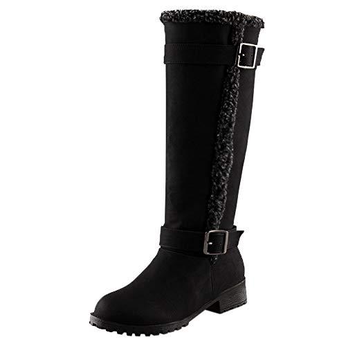 Botas Altas para Mujer de Invierno Hebilla de Cinturón Botas de Nieve Cálidas Alto Botas de Mujer Casual Plataforma Botas de Cordones Seguridad Zapatillas riou