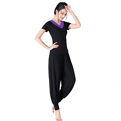 Yujeet Traje de Yoga para Mujer Estilo Suelto con Cuello en V Camisa de Yoga de Manga Larga/Corta Tops y Pantalones Florales Casuales