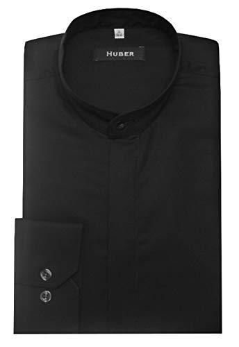 HUBER Stehkragenhemd verdeckte Knopfleiste schwarz XXL