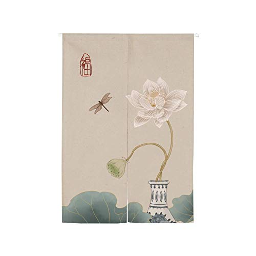 MIEMIE Tapiz Colgante para Puerta, Divisor de habitación, Tapiz de Lino de algodón para decoración del hogar, Cortina de Entrada Japonesa C 90x150cm (35x59 Pulgadas)