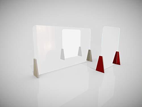 Schreibtisch-Trennwand, Schreibtisch-Abtrennung, Plexiglas-Trennwand für Schreibtische im Büro - 120 x 70cm oder 60 x 70cm (120 x 70cm, Füße Holz hell)