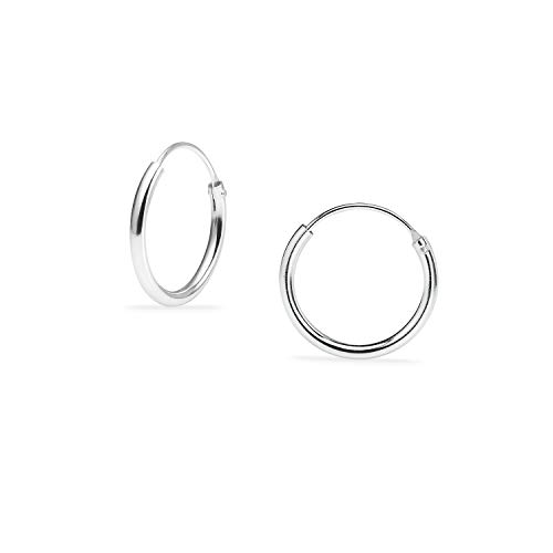 Sterling Silber kleine endlose Creolen für Knorpel, Nase und Lippen, (10mm-22mm)
