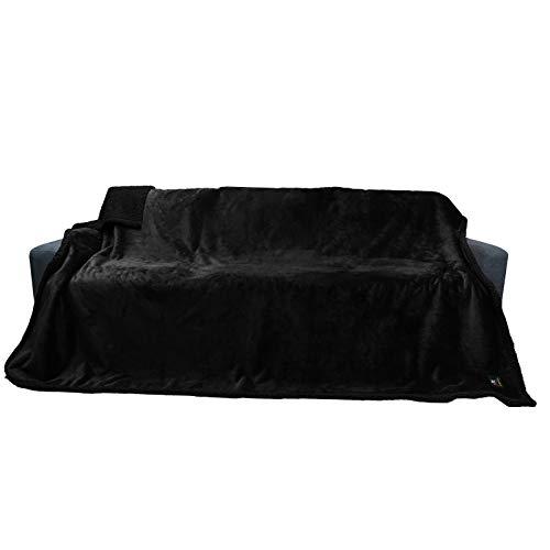 Decken Wasserdicht Haustierdecke Flaushig Doppelschichtig-Verdicht Hundedecke Katze Welpe Schwarz XL (145*216cm)