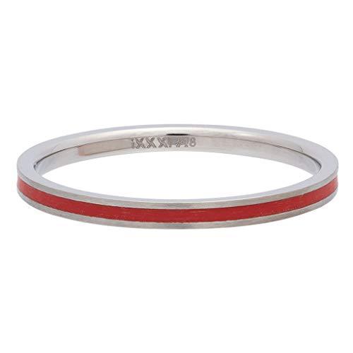 iXXXi Füllring LINE RED silber - 2 mm Größe Ringgröße 18