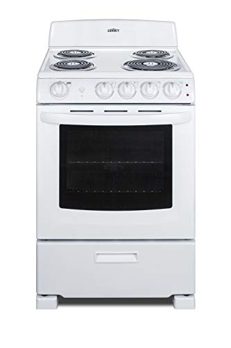 Summit Appliance RE2411W 24' Wide Electric Range in White Finish with Coil Burners, Lower Storage Compartment, Four cooking Zones, Indicator Lights, Oven Light, Backsplash and Oven Window