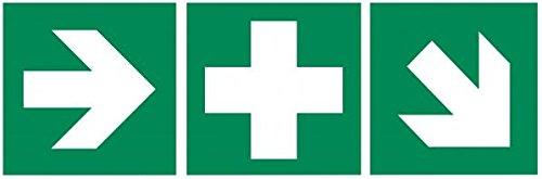 3er-Set Aufkleber Erste-Hilfe-Rettungszeichen + Richtungspfeil rechts-links + Treppe ASR A 1.3 / ISO 7010 von HM-Arbeitsmedizin