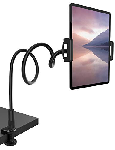 Gooseneck Tablet Mount Holder for Bed - Lamicall Flexible Tablet Arm Clamp, Bed Stand for 4.7-11' Devices, Such as iPad Mini 7.9, Air 9.7, Pro 10.5/11, Nintendo Switch, Samsung Galaxy Tabs - Black