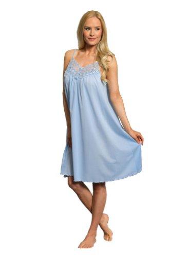 Shadowline Women's Beloved 38 Inch Braided Spaghetti Strap Short Gown, Blue, Large