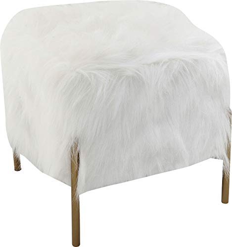 Kare 83330 Design kruk Visible Fur, Schemel in bont-look, slaapkamerkruk van kunstbont, bijzetkruk, wit (H/B/D) 40x37x37cm