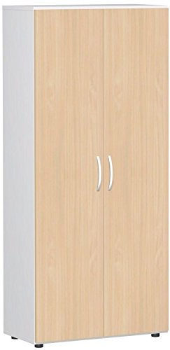 Flügeltürenschrank, Büroschrank aus Holz, mit Standfüßen, inkl. Türdämpfer, abschließbar, 800x420x1808, Buche/Weiß, Geramöbel