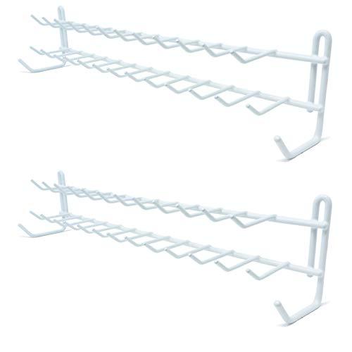 Huji Wall Mount Tie and Belt Rack Organizer, White (2 Pack)