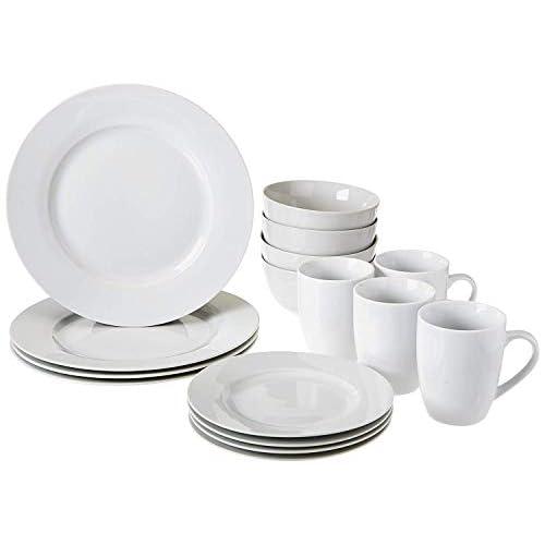 AmazonBasics Set di Stoviglie per 4 Persone, Porcellana, Bianco, 16 Pezzi