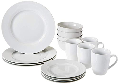 AmazonBasics 16-Piece Kitchen Dinnerware Set, Plates, Bowls, Mugs, Service for 4, White