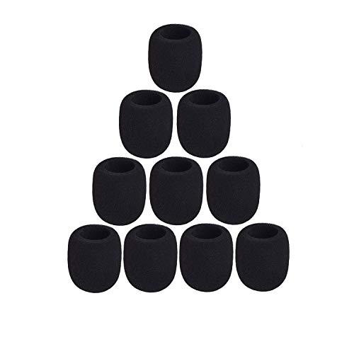 10 Stück Mikrofon Windschutz Schaumstoff, Schaumstoff Mikrofonabdeckung, Hand-waschbar Windschutz Mikrofon Abdeckung Schaum, für KTV, Bühnenperformance, Outdoor-Aktivitäten (schwarz)