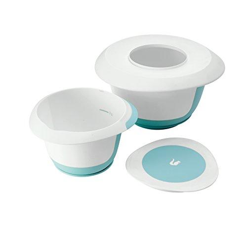 keeeper Rührschüsselset 4-in-1, Mit Spritzschutz, Teigschaber, Saugnapf und Anti-Rutsch-Oberfläche, BPA-freier Kunststoff, Marla, Mintgrün/Weiß