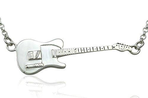 Large Sterling Silver Rick Parfitt Tribute Fender Telecaster Electric Guitar Pendant & Necklace 925