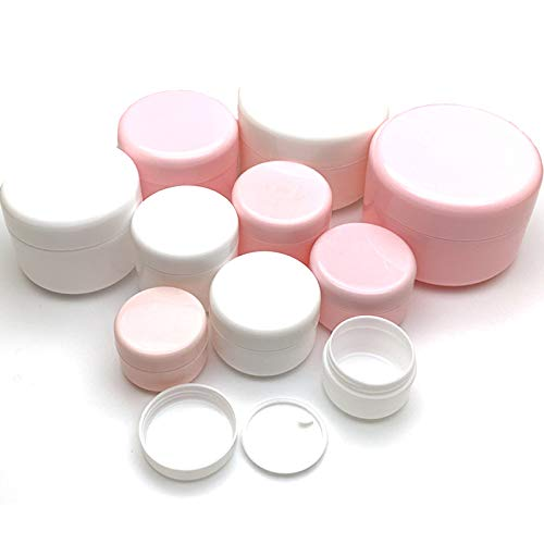 DHJAXL 30Pcs 10g / 20g / 30g / 50g / 100g Tarro de Maquillaje vacío Bote Botellas de Muestra Recargables Crema Facial de Viaje Envase cosmético Blanco, Tarro Blanco, 10g