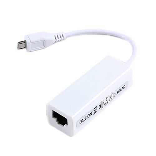 Petrichori Scheda Adattatore LAN di Rete RJ45 Micro USB 2.0 da 5 Pin a Ethernet 10   100Mbps per Tablet - Bianca