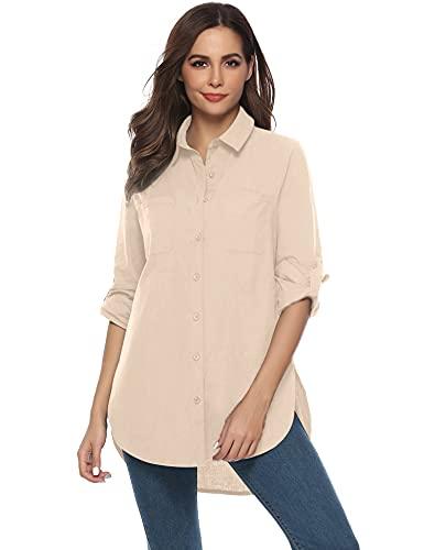 Abollria Damska codzienna bluzka z długim rękawem dla chłopców luźna koszula topy długa bluzka