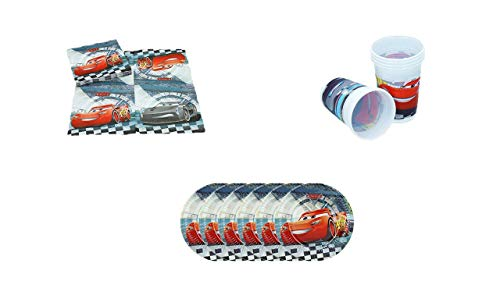 ALMACENESADAN, 0500, Pack Desechables Fiestas y cumpleaños Disney Cars, Pack 6 Platos 20 cms, Pack 6 Vasos, Pack 16 servilletas Disney Cars