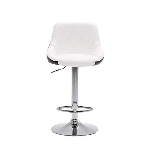 2 sillas de bar blancas sillas de bar de recepción, ascensor de cajero de alta taburete de moda simple versátil rotatorio de la silla de la barra trasera de la sala de estar