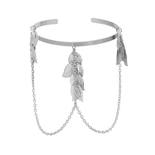 Happyyami Oberarm Manschette Kette Verstellbare Quaste Blatt Armreif Armband Armreif Armband für Dame Mädchen Frauen Party (Silber)